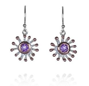 ANEMONE earring hook, silver & rose, amethyst