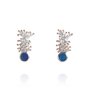 ANEMONE earrings, silver & rose, opal