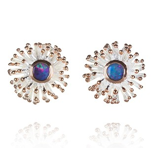 ANEMONE large earring stud B, silver & rose, opal