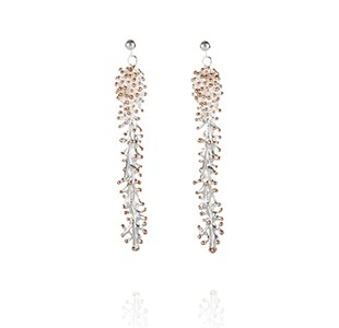 ANEMONE long earring , silver & rose