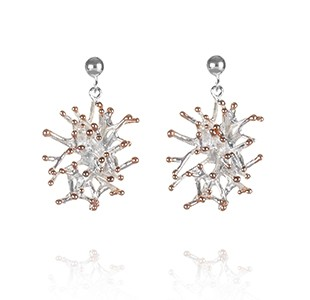 ANEMONE short earring , silver & rose