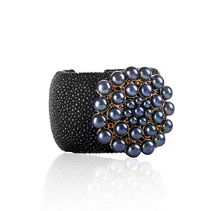 BREATHE cuff style bangle - side view, black stingray leather & yellow gold, black pearl & red garnet & orange sapphire