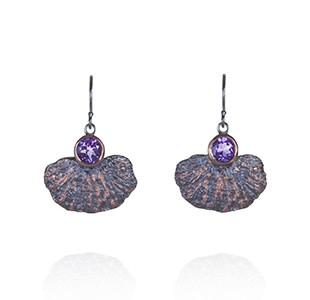 CORAL GARDEN earrings, black & rose, amethyst