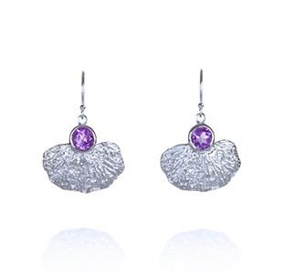 CORAL GARDEN earrings, silver, amethyst