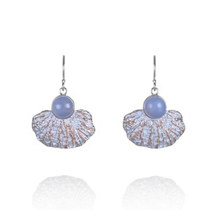 CORAL GARDEN earrings, silver & rose, blue chalcedony