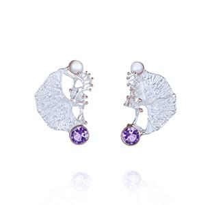 CORAL GARDEN earrings, silver & rose, pearl & amethyst