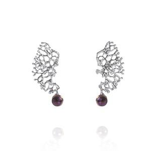 FRAGMENTS earrings, black & rose, pearl