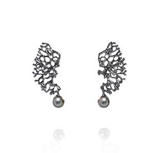 FRAGMENTS earrings, black & rose, pearl_new