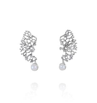 FRAGMENTS earrings, silver, pearl