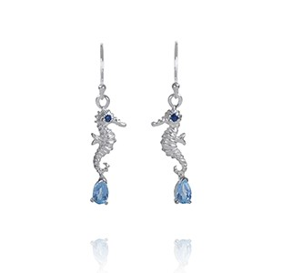 OCEAN TREASURE earrings, silver, blue sapphire & blue topaz