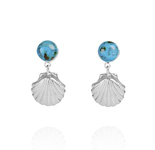OCEAN TREASURE earrings, silver, chrysocolla
