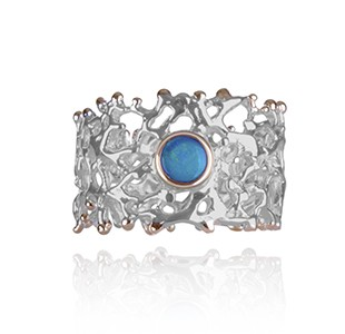 FAN OF THE SEA band style ring, silver & rose, opal