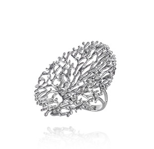 FAN OF THE SEA large statement ring, silver