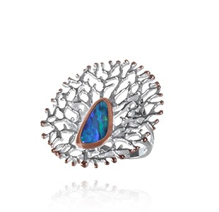 FAN OF THE SEA large statement ring, silver & rose, opal