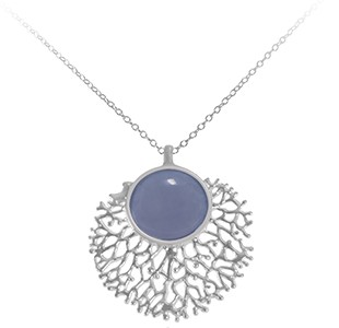 FAN OF THE SEA medium pendant, chain, silver, blue chalcedony