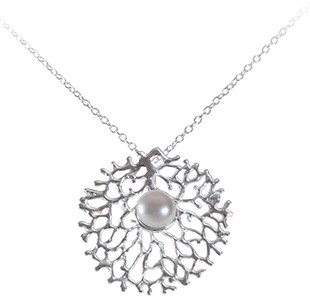 FAN OF THE SEA medium pendant, chain, silver, pearl
