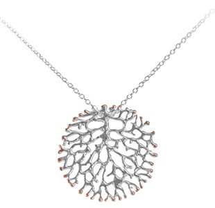 FAN OF THE SEA medium pendant, chain, silver & rose
