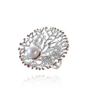 FAN OF THE SEA medium ring, silver & rose, pearl