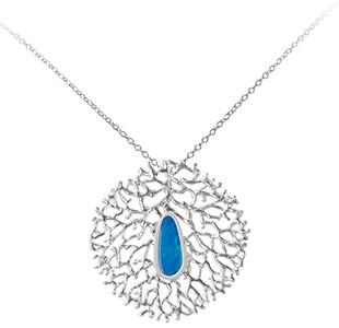 FAN OF THE SEA pendant, chain, silver, opal
