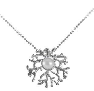 FAN OF THE SEA small pendant, chain, silver, pearl