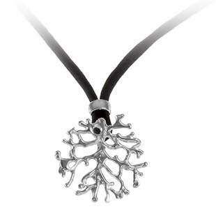 FAN OF THE SEA small pendant, cord, silver
