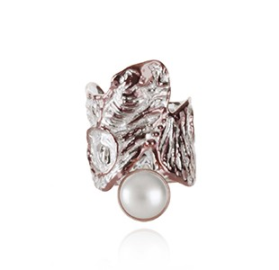 OCEAN BED ring, silver & rose, white pearl