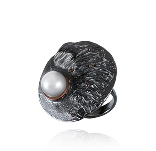 OCEAN BED round ring, black & rose, white pearl