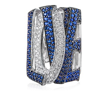 Love Ocean, white gold everywhere, apart from the surface of the letters with blue stones whish are in black gold