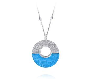 Ocean Sunrise, large, with bail, blue topaz, diamond