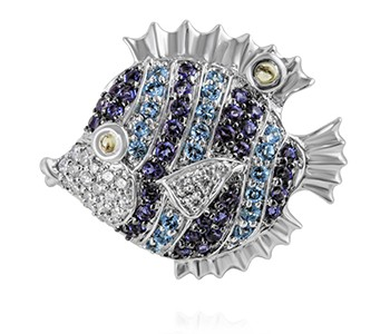Puffer Fish, diamon, iolite, blue topaz, peridot, white gold with black gold claws holding the purple stones