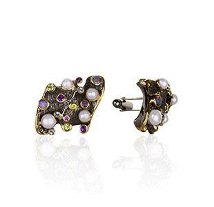 SPIRIT OF THE SEA front view, cufflinks, black & yellow, amethyst, blue topaz, peridot, white pearl, opal
