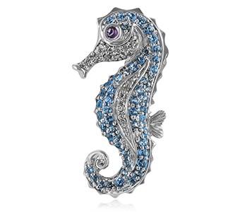 Sea Horse, blue topaz, diamond, amethyst