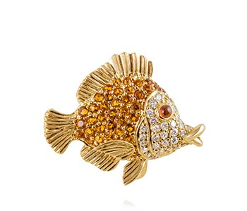 Tropical Fish, diamond, citrine, yellow gold
