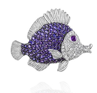 Tropical Fish, large, iolite, diamond, amethyst, white gold everywhere, apart from thebody section with the purple stones - Copy