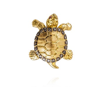 Turtle, large, brown diamond, ruby, yellow and black gold