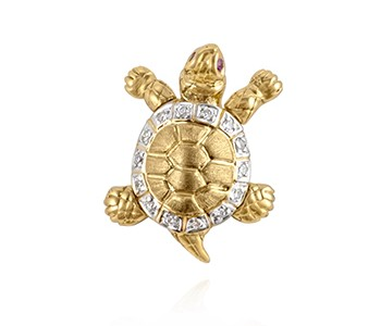 Turtle, small, diamonds, ruby, yellow and white gold_ref