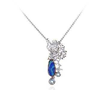 FRAGMENT silver, rose, Australian doublet opal, blue topaz