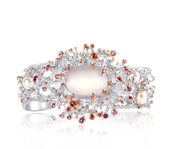 JEWEL-OF-THE-SEA-cuff-style-bangle-silver-rose-rose-quartz-red-garnet-rhodolite-garnet-amethyst-pearl