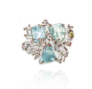 JEWEL OF THE SEA front view, ring, silver & rose, peridot, orange sapphire, tumbled aquamarine