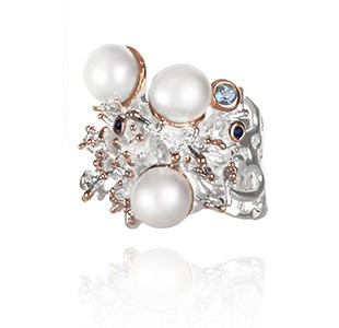 JEWEL OF THE SEA right view, ring, silver & rose, blue sapphire, blue topaz, white pearl
