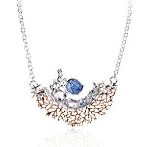 CORAL GARDEN silver, rose, Australian doublet opal, blue sapphire, blue topaz